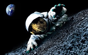 outer-space-Moon-Earth-spaceman