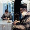 Greece, Athos mount, Kellia in Faryes district, 2 popes peeling potatoes